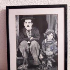 Varios objetos de Arte: CUADRO CHARLES CHAPLIN CHARLOT ARTE CINE JACKIE COOPER THE KID. Lote 159514720