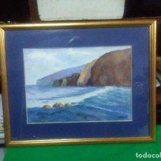 Varios objetos de Arte: CUADRO MADERA MARCO DORADO, ACUARELA, AUTOR N. CARRERAS MEDIDAS 51X42 CM.. Lote 159592838