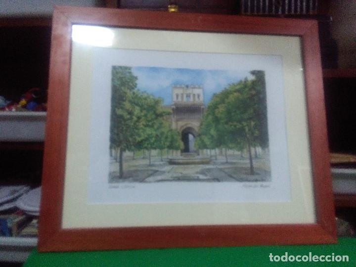 CUADRO MARCO MADERA , LITOGRAFIA, PUERTA DEL PERDÓN SEVILLA MEDIDAS 62X52 CM. (Arte - Varios Objetos de Arte)