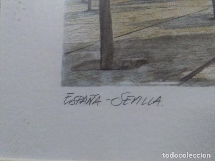 Varios objetos de Arte: CUADRO MARCO MADERA , LITOGRAFIA, PUERTA DEL PERDÓN SEVILLA MEDIDAS 62X52 CM. - Foto 4 - 159593134