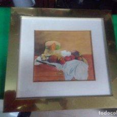 Varios objetos de Arte: CUADRO MARCO METAL DORADO, ACUARELA, MOTIVO BODEGÓN, MEDIDAS 50X47 CM.. Lote 159593458