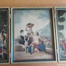 Varios objetos de Arte: CUADRO TRÍPTICO LAMINA SIGLO XIX TRAJE REGIONAL GOYESCO. Lote 159821228