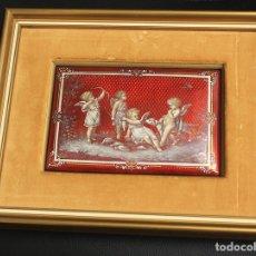 Varios objetos de Arte: BELLISIMO ESMALTE FRANCES CON ESCENA DE QUERUBINES. SIGLO XIX. Lote 159967609