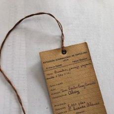 Varios objetos de Arte: EXPOSICION INTERNACIONAL DE BARCELONA - 1929 - FICHA DEPOSITO. Lote 160232830