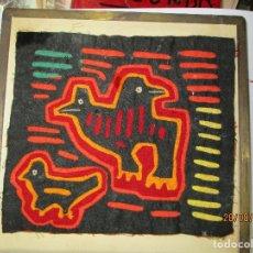 Varios objetos de Arte: RARO ANTIGUO CUADRO CUBISTA EN TELA TAPIZ MARCO DE BRONCE ENMARCADO EN ALICANTE. Lote 80470669