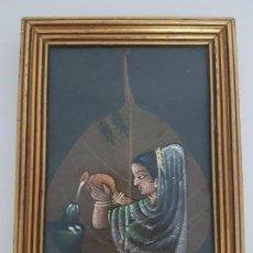 Varios objetos de Arte: CURIOSA PINTURA SOBRE UNA HOJA EN TEMPERA ( ESTILO HINDÚ ). Lote 161258414