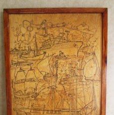 Varios objetos de Arte: CUADRO GABRADO EN MADERA FIRMADO POR FERRER MOTIVO NAVAL AÑO 1980. Lote 161561714