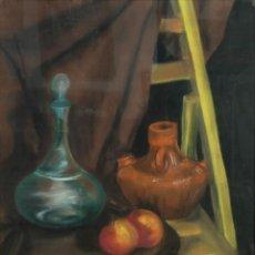 Varios objetos de Arte: PASTEL SOBRE PAPEL BODEGÓN FRUTA Y JARRONES SIGLO XX. Lote 161694682