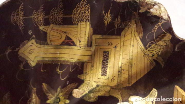 Varios objetos de Arte: Concha madera lacada personajes chinos arquiteturismo pan oro S XIX - Foto 4 - 163040166