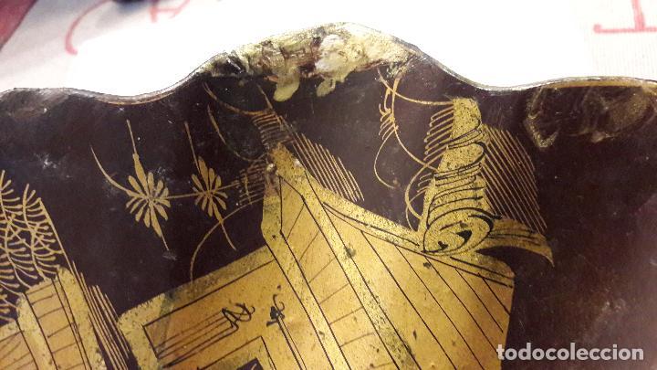 Varios objetos de Arte: Concha madera lacada personajes chinos arquiteturismo pan oro S XIX - Foto 7 - 163040166