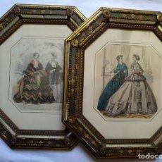 Varios objetos de Arte: 2 ANTIGUOS CUADROS , ORIGINAL DAMAS EPOCA SEGUNDO IMPERIO . SIGLO 19 . Lote 163775610