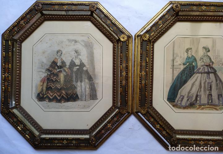 Varios objetos de Arte: 2 ANTIGUOS CUADROS , ORIGINAL DAMAS EPOCA SEGUNDO IMPERIO . SIGLO 19 - Foto 7 - 163775610