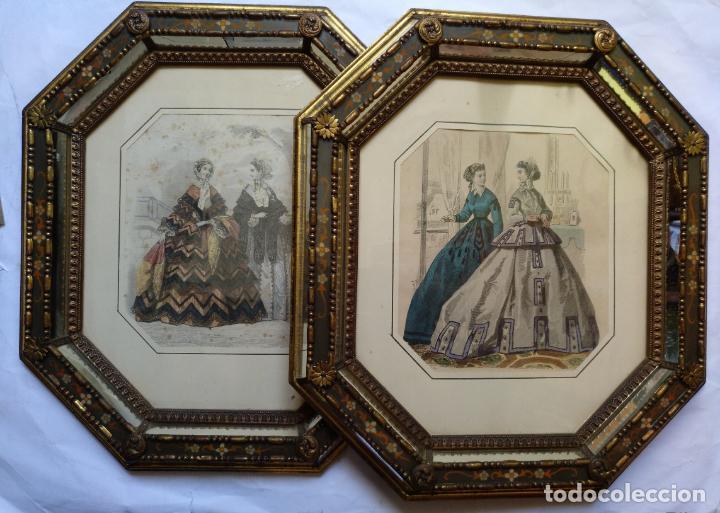 Varios objetos de Arte: 2 ANTIGUOS CUADROS , ORIGINAL DAMAS EPOCA SEGUNDO IMPERIO . SIGLO 19 - Foto 18 - 163775610