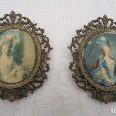 Varios objetos de Arte: DOS ANTIGUOS CAMAFEOS CON IMPRESION EN SEDA ITALIANOS. Lote 163782378