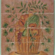 Varios objetos de Arte: PANEL DE AZULEJOS CON BODEGÓN PINTADO A MANO, S. XX. Lote 165101518