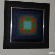 Varios objetos de Arte: VICTOR VASARELY - GYEMANT - CUADRO LÁMINA 1974 SUIZA - ENMARCADA - OP ART. Lote 202843983