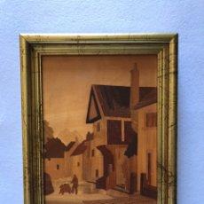 Varios objetos de Arte: CUADRO. PLACA DE MADERA DE MARQUETERÍA VINTAGE CON INCRUSTACIONES . LONDRES. A. SALZANO.. Lote 166792477