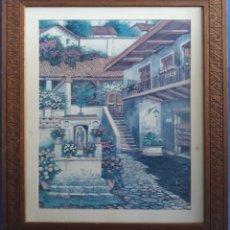 Varios objetos de Arte: PAREJA CUADROS PAPEL PINTADO. Lote 167496500