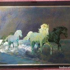 Varios objetos de Arte: CUADRO 3D, CABALLOS SALVAJES TROTANDO /// RELIEVE / TRIDIMENSIONAL / VINTAGE / ÓLEO / PINTURA . Lote 168071452