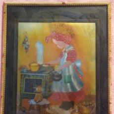 Varios objetos de Arte: CUADRO 3D, MUCHACHA COCINANDO /// RELIEVE / TRIDIMENSIONAL / VINTAGE / ÓLEO / PINTURA / ACUARELA . Lote 168072516