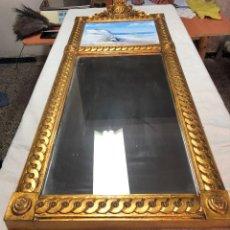 Varios objetos de Arte: L039 CUADRO ESPEJO CON LAMINA TEMA MAR CON MARCO DORADO 101CM X 39CM. Lote 168791556