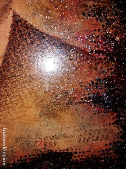 Varios objetos de Arte: LLEVATA REQUENA CUADRO ARTE PIROGRABADO RETRATO HOMBRE DESCONOZCO QUIEN ES UNICO - Foto 8 - 170228880