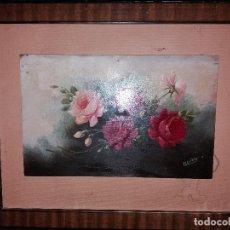Varios objetos de Arte: LLEVATA REQUENA OLEO SOBRE TABLA FLORES PRECIOSO. Lote 170229188