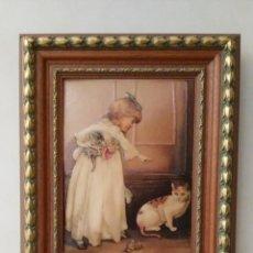 Varios objetos de Arte: CUADRO EN RELIEVE ESMALTADO MARCO EN MADERA - SEGUNDA MANO. Lote 170348572