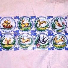 Varios objetos de Arte: INIGUALABLE LOTE DE BALDOSAS ANTIGUAS PINTADAS A MANO. POSIBLEMENTE DE ALCORA - RAJOLAS - AZULEJOS -. Lote 171151328