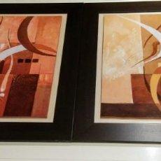 Varios objetos de Arte: 2 CUADROS ABSTRACTOS. IMPRESION PLACAS DE MADERA. Lote 171281075