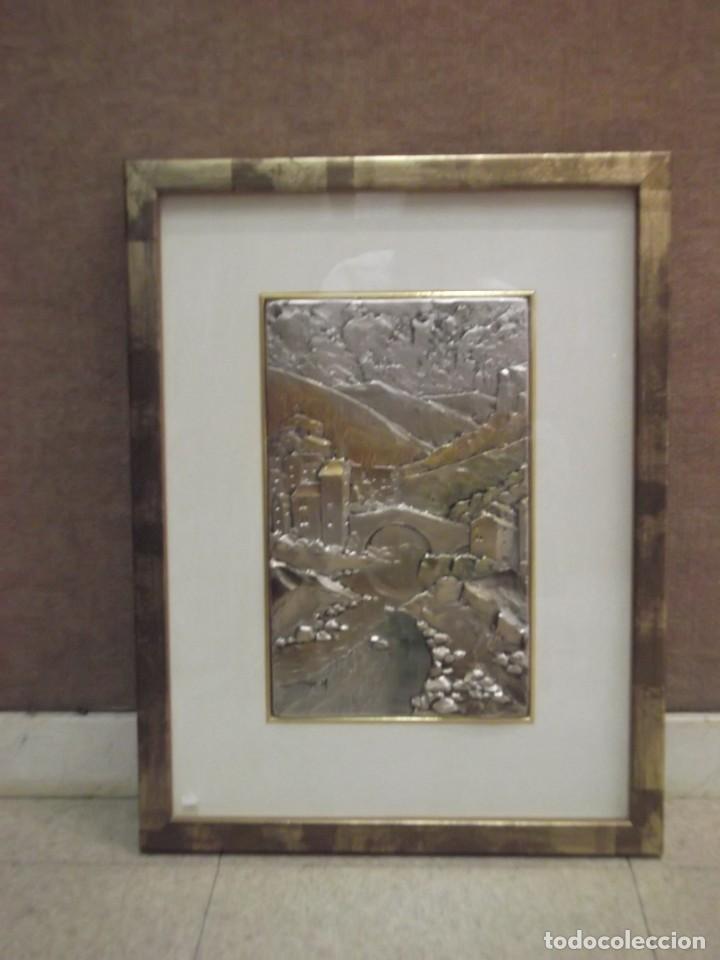 CUADRO DE PLATA EN RELIEVE DE UN PAISAJE (Arte - Varios Objetos de Arte)