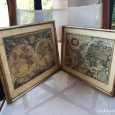 Varios objetos de Arte: PAREJA DE CUADROS DE MAPAS ESTILO ENVEJECIDO.. Lote 171500500