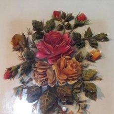 Varios objetos de Arte: CUADRO EN RELIEVE, FLORES O ROSAS, FIRMADO ELENA OLIVERA - 32.8 X 39CM. Lote 171667393