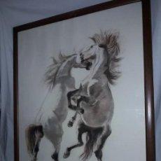 Varios objetos de Arte: BELLO CUADRO AL PASTEL PAREJA DE CABALLOS FIRMADO F. JOU. Lote 171715042
