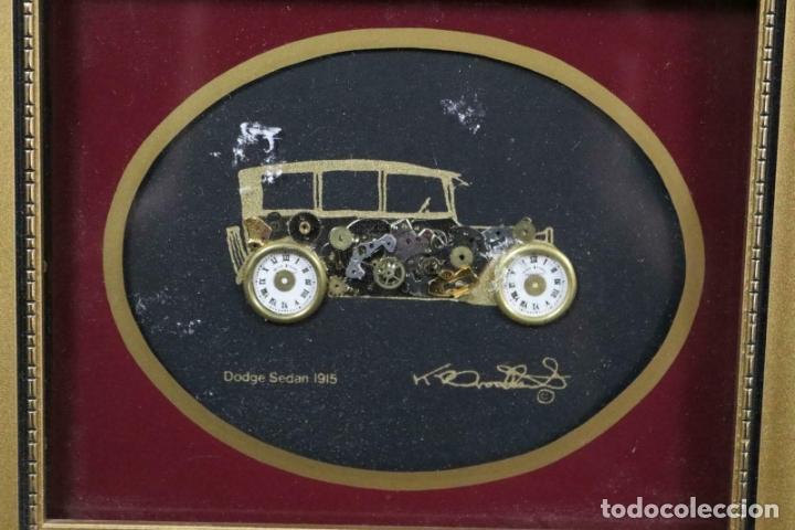 Varios objetos de Arte: MAGNIFICOS COLLAGES ANTIGUOS AUTOS DE ÉPOCA REALIZADOS CON ENGRANAJES RELOJ FIRMADOS 197,00 € - Foto 7 - 171772383