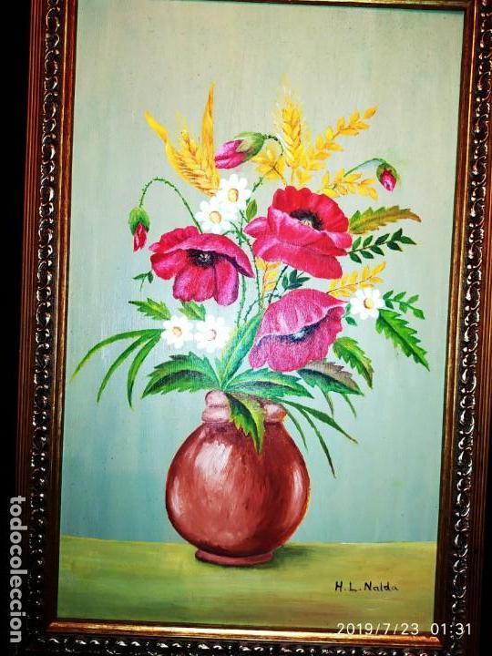 Varios objetos de Arte: LOTE CUADROS ÓLEO ?ACUARELA?SOBRE TABLA JARRÓN FLORES PRECIOSOS FIRMADOS H L NALDA UNICOS - Foto 5 - 172087673