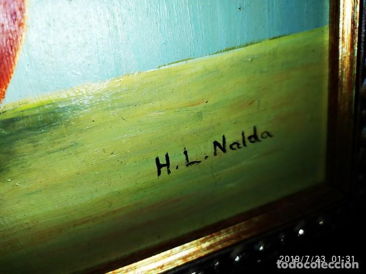 Varios objetos de Arte: LOTE CUADROS ÓLEO ?ACUARELA?SOBRE TABLA JARRÓN FLORES PRECIOSOS FIRMADOS H L NALDA UNICOS - Foto 10 - 172087673