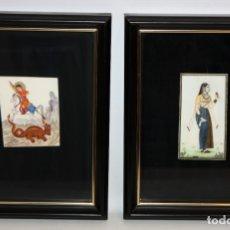 Varios objetos de Arte: PAREJA DE MINIATURAS PINTADAS Y UNA DE ELLAS FIRMADA. Lote 172672232