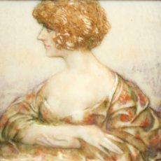 Varios objetos de Arte: BONITA MINIATURA DEL SIGLO XIX. DAMA DE PERFIL. Lote 172758935