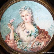 Varios objetos de Arte: BONITA MINIATURA PINTADA A MANO DE APROXIMADAMENTE 1850. RETRATO DE UNA DAMA. Lote 172759450