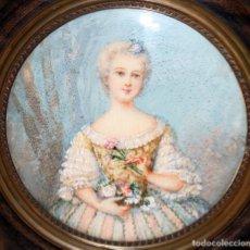 Varios objetos de Arte: BONITA MINIATURA PINTADA A MANO DE APROXIMADAMENTE 1850. RETRATO DE UNA JOVEN. Lote 172759620