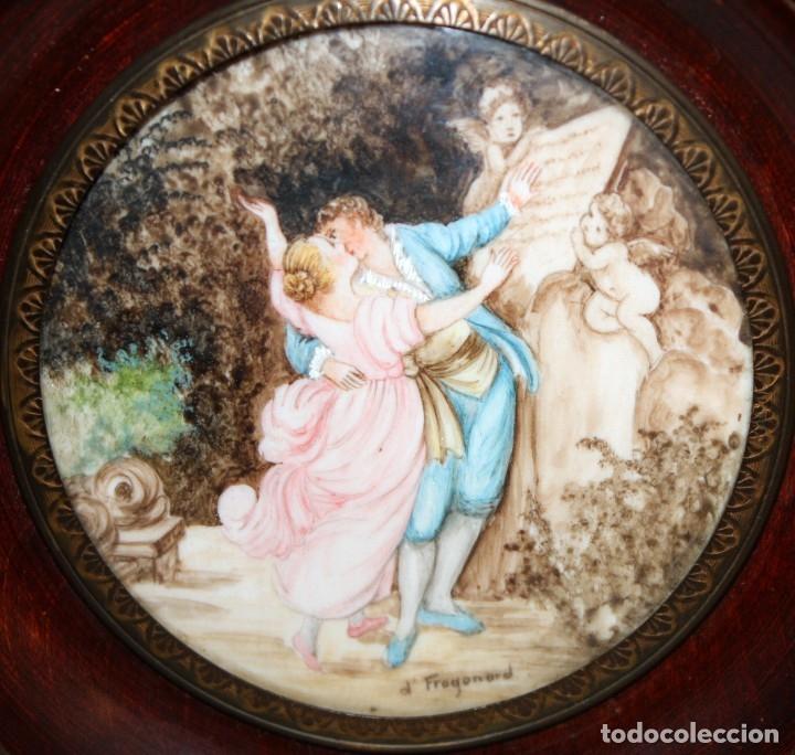 D'APRES DE FRAGONARD. BONITA MINIATURA PINTADA A MANO DEL SIGLO XIX. LE SERMENT D'AMOUR (Arte - Varios Objetos de Arte)