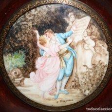 Varios objetos de Arte: D'APRES DE FRAGONARD. BONITA MINIATURA PINTADA A MANO DEL SIGLO XIX. LE SERMENT D'AMOUR. Lote 172759999