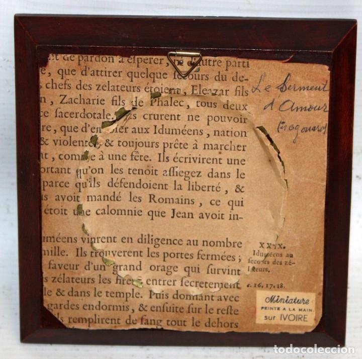 Varios objetos de Arte: DAPRES DE FRAGONARD. BONITA MINIATURA PINTADA A MANO DEL SIGLO XIX. LE SERMENT DAMOUR - Foto 6 - 172759999