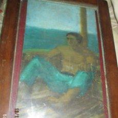 Varios objetos de Arte: ANTIGUA PINTURA OLEO SOBRE TABLA PESCADOR DESCANSANDO. Lote 173103815