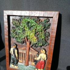Varios objetos de Arte: CUADRO TALLADO EN MADERA. Lote 173393720