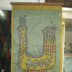 Varios objetos de Arte: ANTIGUA Y RARA PINTURA EN TELA DE SACO FINO O ARPILLERA FIRMA UHR. Lote 173490698