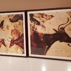 Varios objetos de Arte: LOTE 2 LAMINAS DE PINTURAS RUPESTRES, ENMARCADAS CON VIDRIO.(51'5× 40 CTM). Lote 173802378