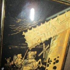 Varios objetos de Arte: PRECIOSO DON QUIJOTE CUADRO REALIZADO CHAPADO EN ORO 24 K. Lote 173898124