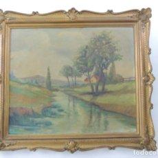 Varios objetos de Arte: PRECIOSO CUADRO PINTURA SOBRE TABLA FIRMADO Y ENMARCADO CON MARAVILLOSO MARCO. Lote 174071490